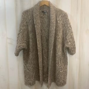 A.N.A Brown Heathered Open Tunic Sweater L/XL